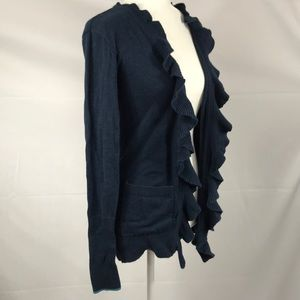 Hollister Sweaters - Hollister- Navy ruffle front cardigan size S